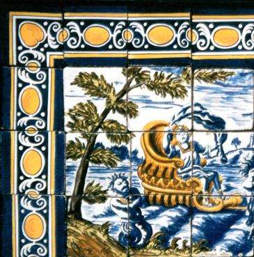 Portuguese 17th century tile panel on hand made tiles