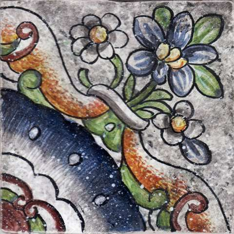 Portuguese Square Design on hand painted tiles