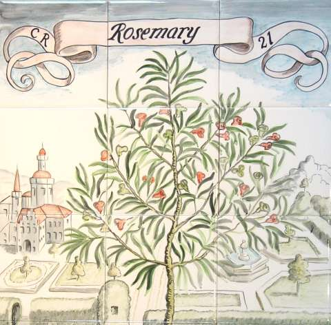 Rosemary Mural on hand painted tiles