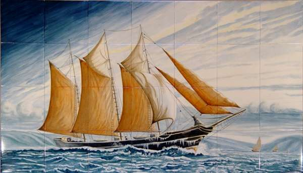 Sailing ship on hand painted tiles -  2