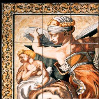 Sistine Chapel detail on hand painted tiles