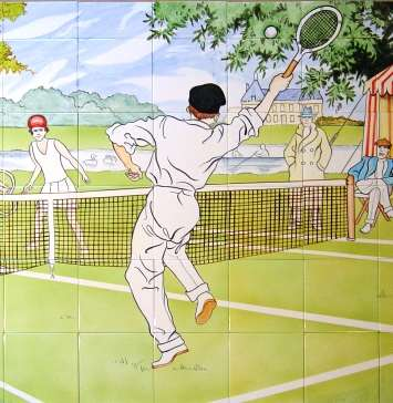 Anyone for tennis? on hand painted tiles