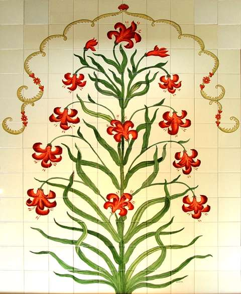 Tree of Life on hand painted tiles