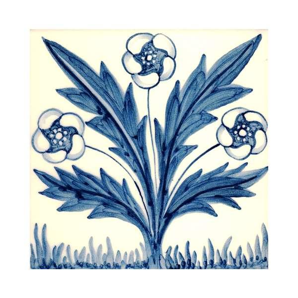 Delft tiles - William Morris blue & white 5 on hand painted tiles