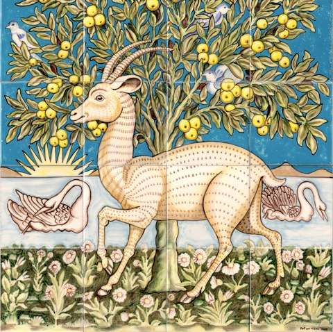 William Morris Goat on hand painted tiles