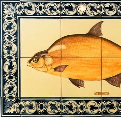 Fish panel 5 - with borders on hand painted tiles