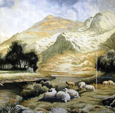 Landscapes on hand painted tile murals