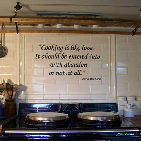 Aga tile panel on hand painted tiles - words