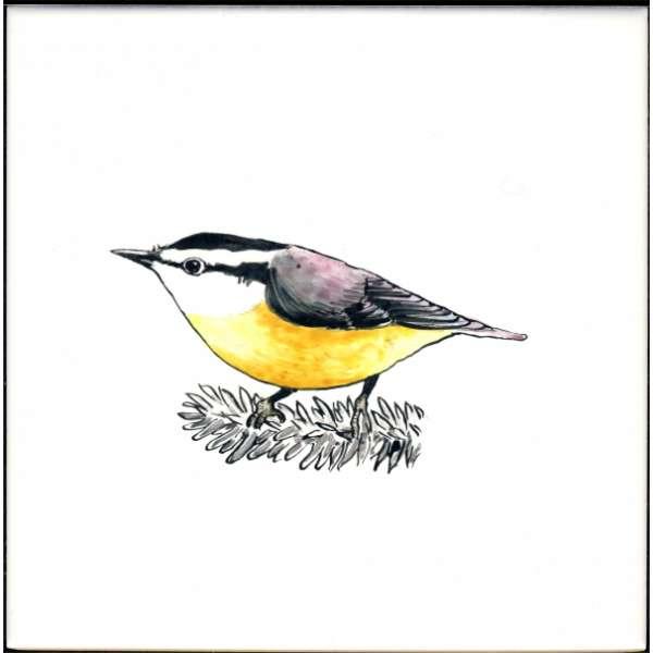 Bird 9 on hand painted tiles