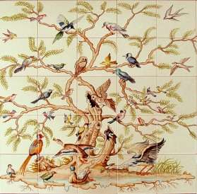 Bird Tree- landscape version on hand painted tiles