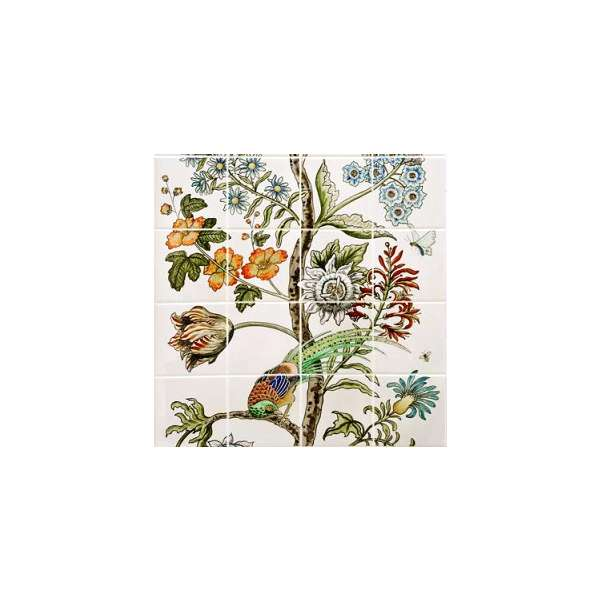 Birds of Paradise 2 on hand painted tiles