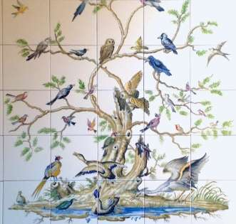 Bird Tree with Border on hand painted tiles