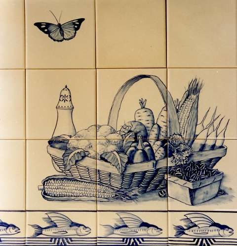 Blue and white still life on hand painted tiles 3