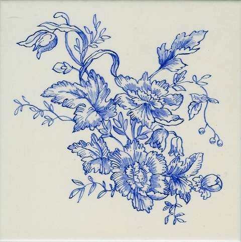 Toile de Jouy - blue and white on hand painted tiles