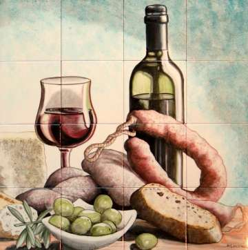Bread and wine on hand painted tiles