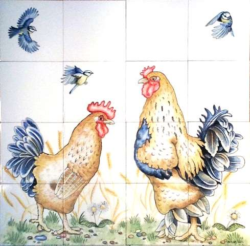 Chickens, hens, roosters and cockerels 17 on hand painted tiles