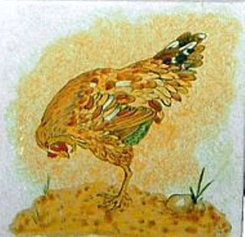 Chickens, hens, roosters and cockerels 4 on hand painted tiles