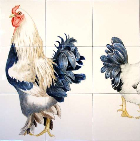 tile murals - chicken tiles