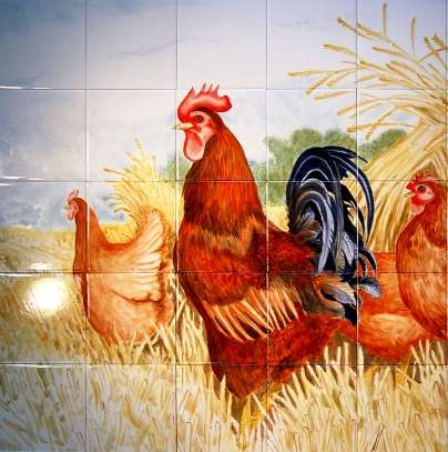 Chickens, hens, roosters and cockerels 6 on hand painted tiles