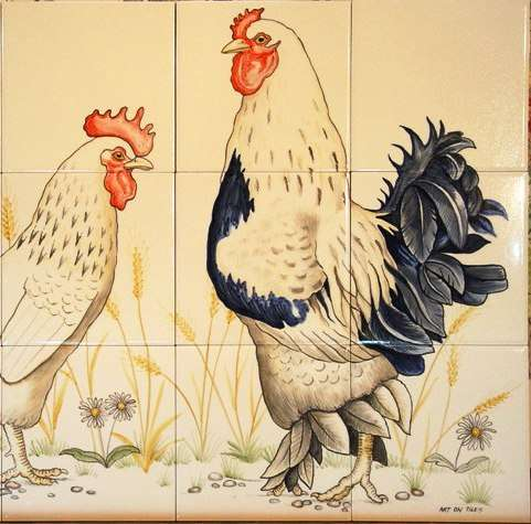 Chickens, hens, roosters and cockerels 7 on hand painted tiles