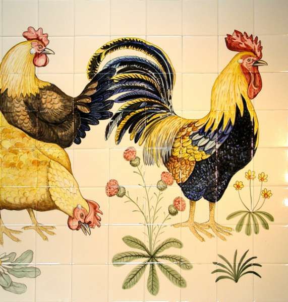 Chickens, hens, roosters and cockerels 15 on hand painted tiles