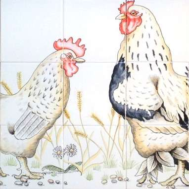Chickens, hens, roosters and cockerels 16 on hand painted tiles