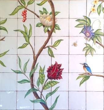 Chinoiserie on hand painted tiles