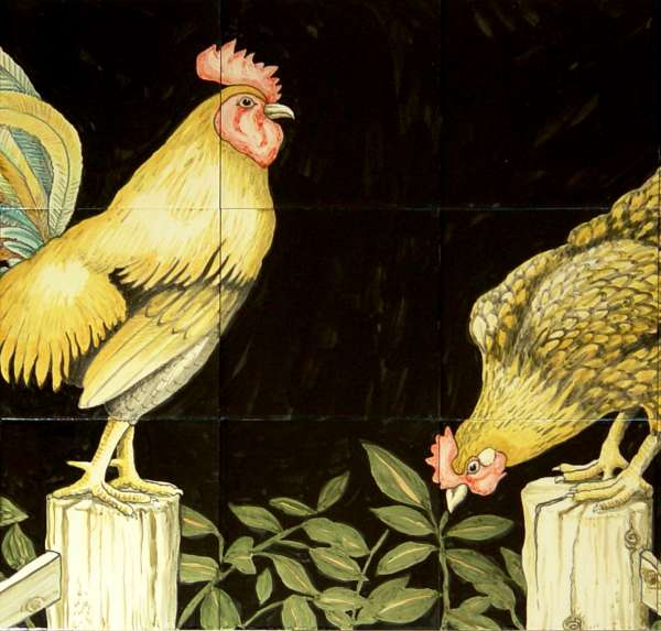 Cockerel and chicken on hand painted tiles