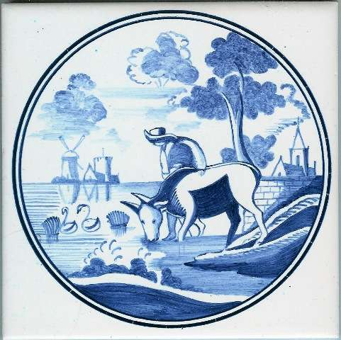 Blue delft tile - circle 1