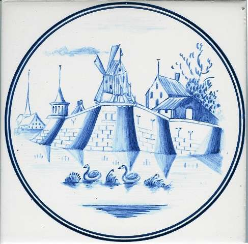 Blue Delft tile - circle 5 on hand painted tiles