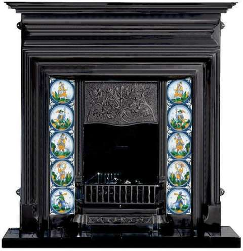 Fireplace - Delft tile inserts on hand painted tiles