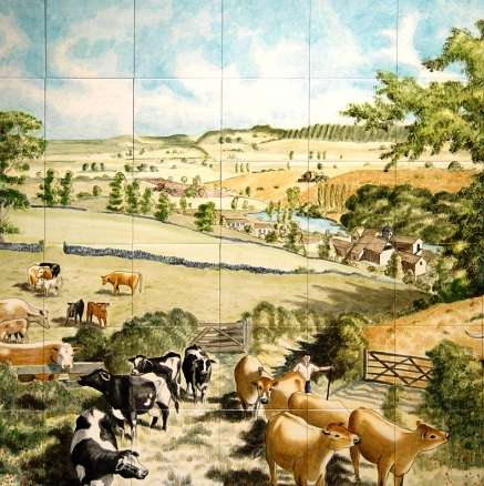 Tile Mural - Farmyard Scene on hand painted tiles