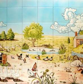 Aga panel - farmyard scene on hand painted tiles