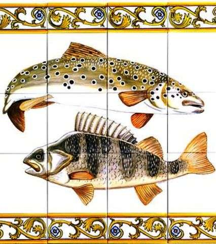 Fish panel 3 with borders on hand painted tiles