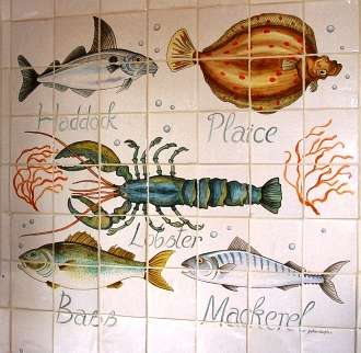 Fish panel 1 on hand painted tiles