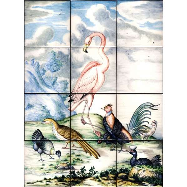 Flamingoes on hand painted tiles