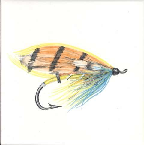 Fly fishing 1 on hand painted tiles