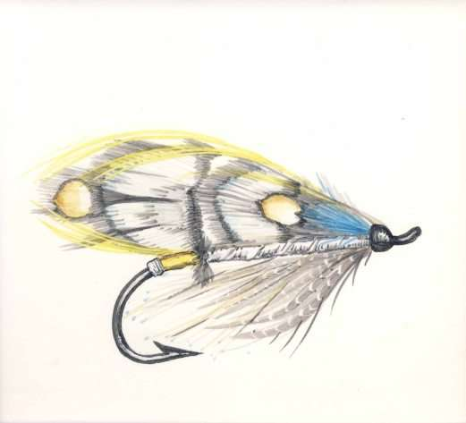 Fly fishing 2 on hand painted tiles