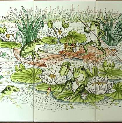 Frogs 3 on hand painted tiles