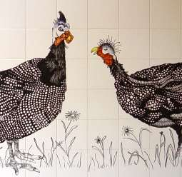 Guineafowl on hand painted tiles