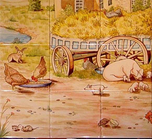 Farmyard tile mural