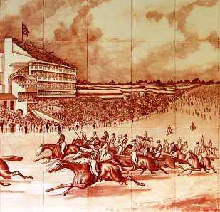 Sepia horse racing tile mural 5 on hand painted tiles