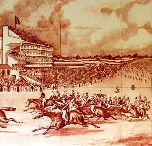Sepia horse racing tile mural 5