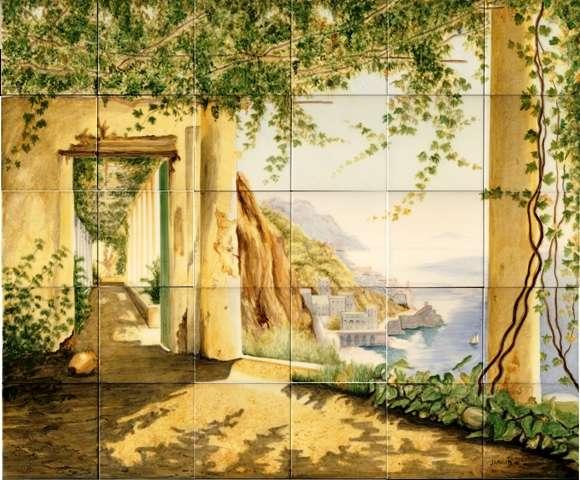 Tile mural of Italian scene