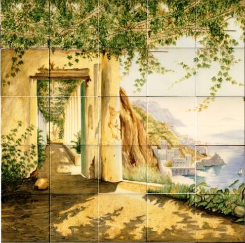 Tile mural of Italian scene on hand painted tiles