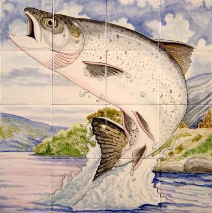 Leaping Salmon on hand painted tiles