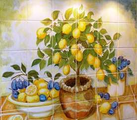 Aga tile panel or mural with lemons on hand painted tiles