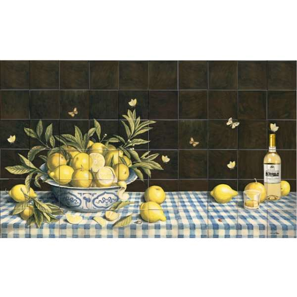 Dutch still life - lemons on blue tablecloth