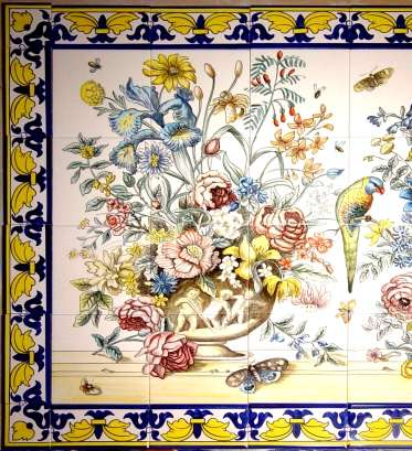 Portuguese flower panel with borders on hand painted tiles