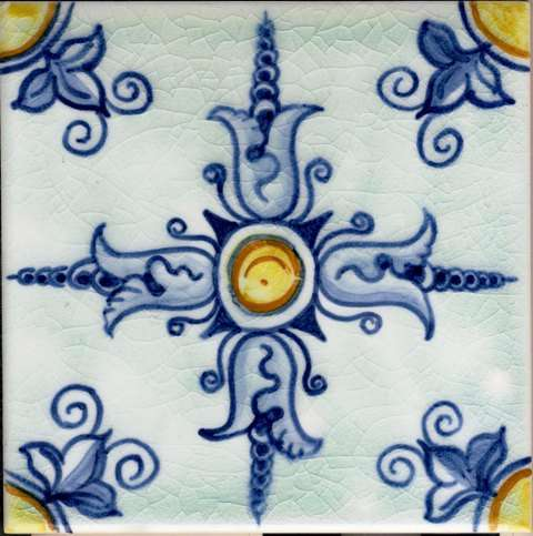 Portuguese tile on hand painted tiles